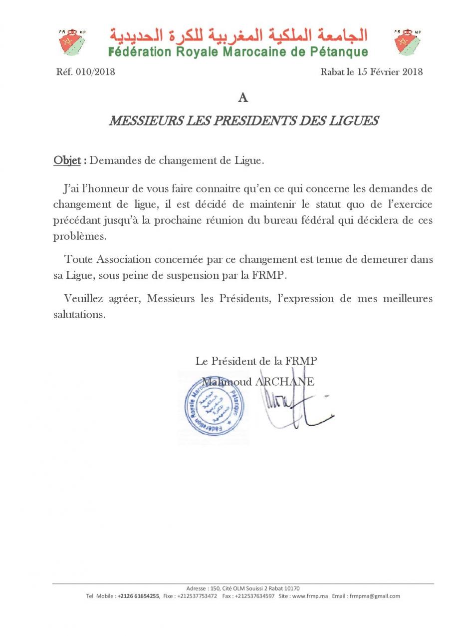 Note Frmp Changements De Ligues 2018